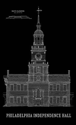 Independence Hall Blackprint - Philadelphia Art Print