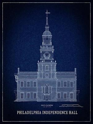 Independence Hall Blueprint Art Print