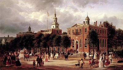 Landmarks Painting Royalty Free Images - Independence Hall Royalty-Free Image by Ferdinand Richardt
