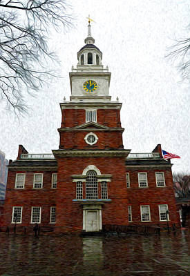 Phillies Digital Art - Independence Hall In Philadelphia by Bill Cannon