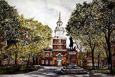 City Scape Painting - Independence Hall by Joyce A Guariglia
