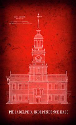 Independence Hall Blueprint - Philadelphia Art Print