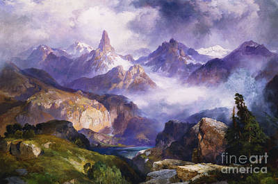 National Parks Painting - Index Peak Yellowstone National Park by Thomas Moran