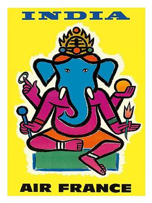 Hindu Wall Art - Digital Art - India Air France Hindu Lord Ganesha Vintage Airline Travel Poster By Jean Carlu by Retro Graphics