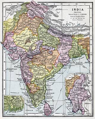 Pakistan Drawing - India Circa 1930. Before Partition by Vintage Design Pics