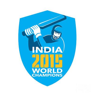 Batsman Digital Art - India Cricket 2015 World Champions Shield by Aloysius Patrimonio