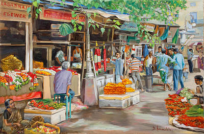 India Flower Market Street Art Print by Dominique Amendola