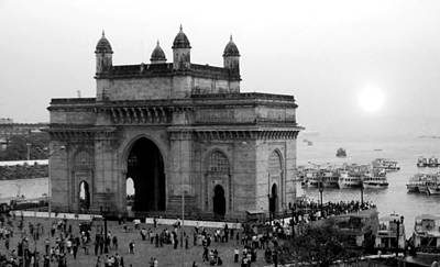 Photograph - India - Gateway Of India - B/w by Jacqueline M Lewis