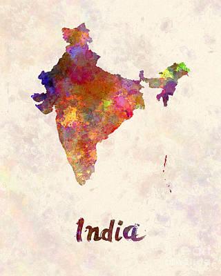 India  In Watercolor Art Print by Pablo Romero