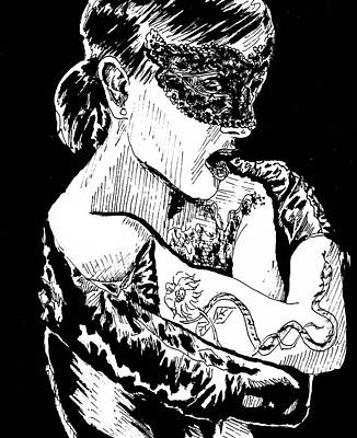 Bdsm Drawing - India Ink Masquerade by Demian Legg