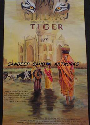 Muslims Of The World Drawing - India Kingdom Of The Tiger by Sandeep Kumar Sahota