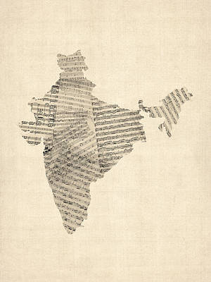 Old Sheet Music Digital Art - India Map, Old Sheet Music Map Of India by Michael Tompsett