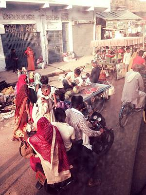 Photograph - India Market In Red by LeLa Becker