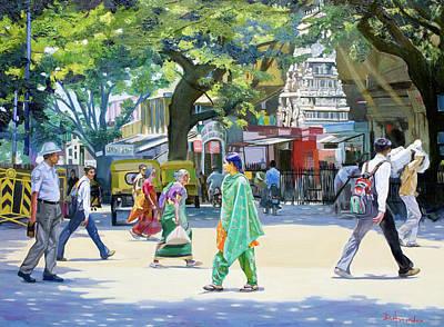 India Street Scene 2 Art Print by Dominique Amendola