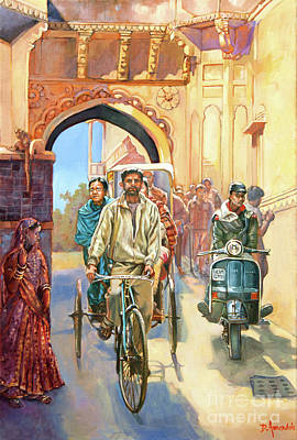 India Street Scene With A Bicycle Rickshaw Art Print by Dominique Amendola