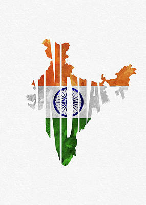 Digital Art - India Typographic Map Flag by Inspirowl Design