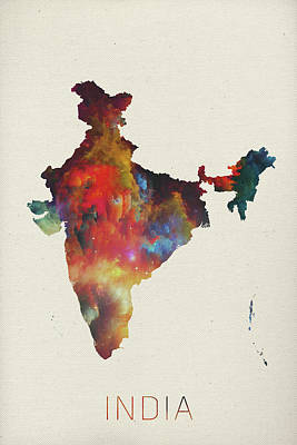 Delhi Mixed Media - India Watercolor Map by Design Turnpike