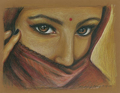 Drawing - India Woman by Linda Nielsen