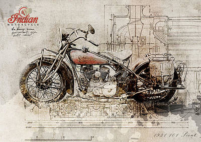 Indian 101 Scout 1931 Art Print
