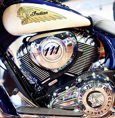 Photograph - Indian 111 Moto Bike 08916 by Rospotte Photography