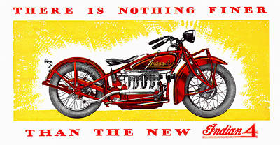 Indian Motorcycle Company Painting - Indian 4 Motorcycle Vintage Ad by Big 88 Artworks