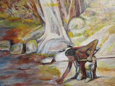 Brave Mixed Media - Indian At The Water by Denice Palanuk Wilson