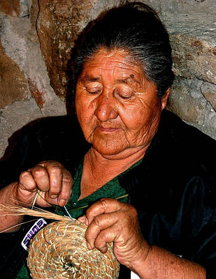 Photograph - Indian Basket Weaver by Joel Gilgoff