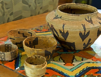 Indian Basket Photograph - Indian Baskets 1 by Stephen Anderson