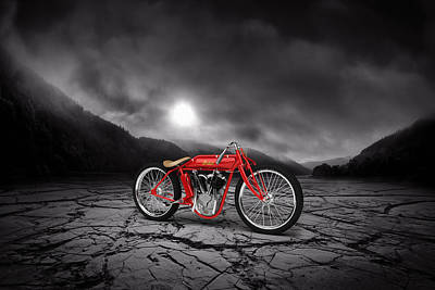 Indian Board Track Racer 1920 Mountains Print by Aged Pixel