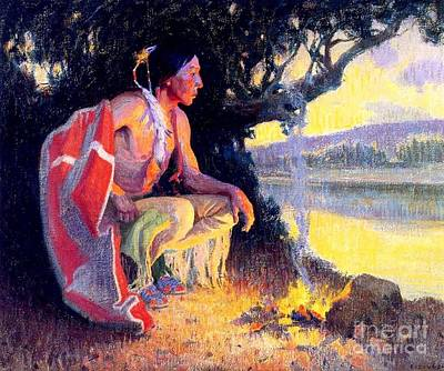 Painting - Indian By The Fire by Roberto Prusso