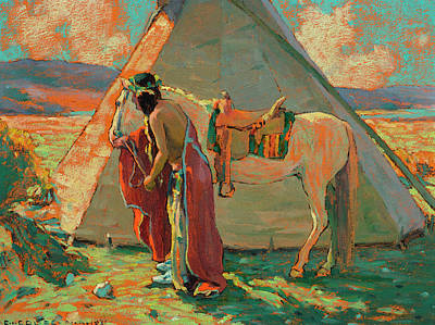 Turkey Painting - Indian Camp by Eanger Irving Couse