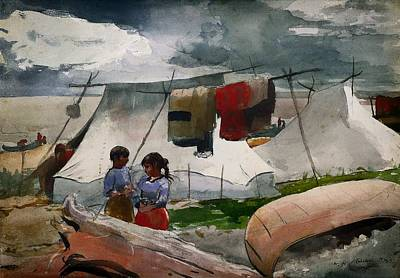 Clothes Line Painting - Indian Camp - Roberval P Q by Mountain Dreams