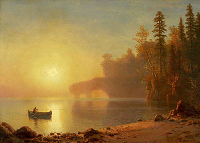 Indian Canoe Art Print by Albert Bierstadt