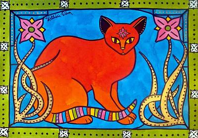 Indian Cat With Lilies Original by Dora Hathazi Mendes