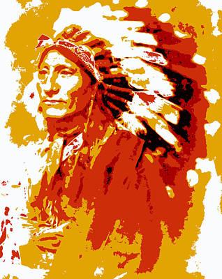 Montana Digital Art - Indian Chief  Abstract by Daniel Hagerman