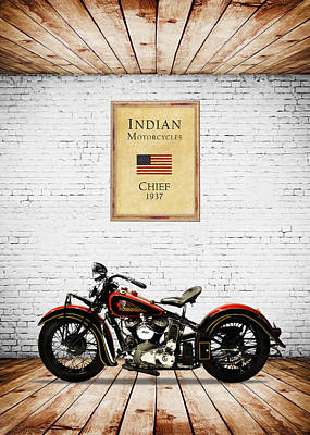Motorcycle Photograph - Indian Chief 1937 by Mark Rogan