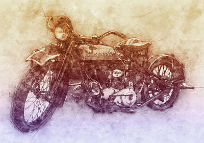 Royalty-Free and Rights-Managed Images - Indian Chief 2 - 1922 - Vintage Motorcycle Poster - Automotive Art by Studio Grafiikka
