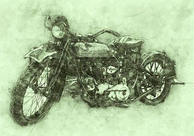 Royalty-Free and Rights-Managed Images - Indian Chief 3 - 1922 - Vintage Motorcycle Poster - Automotive Art by Studio Grafiikka