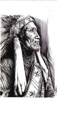 Drawing - Indian Chief by Cecill Woods
