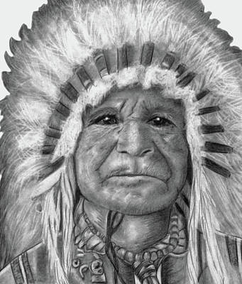 Drawing - Indian Chief by Claire Fagan
