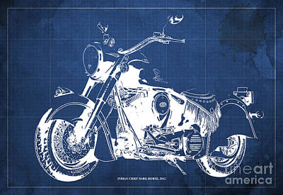 Indian Chief Drawing - Indian Chief Dark Horse 2012  Blueprint by Pablo Franchi