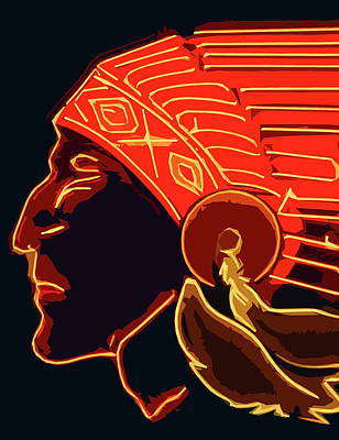 Painting - Indian Chief Head Red by Andrea Mazzocchetti
