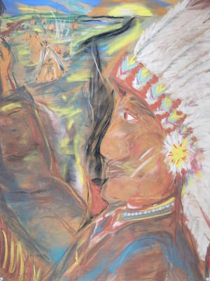 Indian Chief On French Velvet Painting By Bob Smith