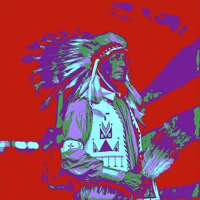 Digital Art - Indian Chief Pop Art by Matthew Lacey