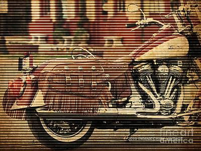 Red Painting - Indian Chief Vintage 2010, Vintage Background, Motorcycle Poster by Pablo Franchi