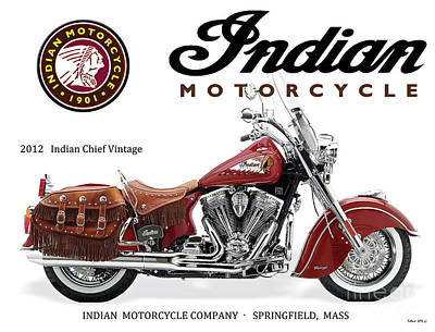 Transportation Digital Art - Indian Chief Vintage, 2012, Motorcycle Sign by Thomas Pollart