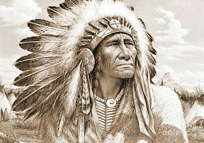 Photograph - Indian Chief With Headdress by Gary Wonning