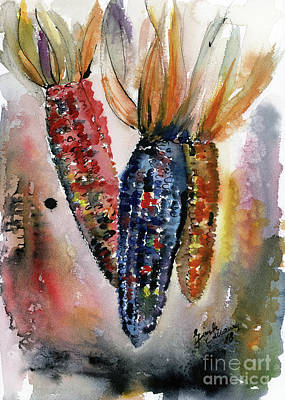 Painting - Indian Corn Food Art Watercolor by Ginette Callaway