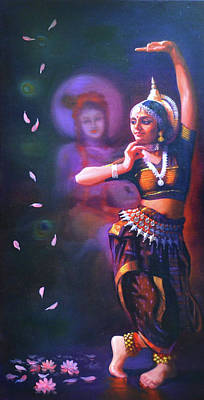 Bharatanatyam Painting -  Indian Dance by Dr Rajeev M Y Gowda