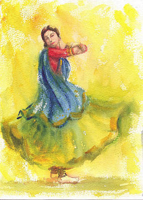 Painting - Indian Dancer by Asha Sudhaker Shenoy